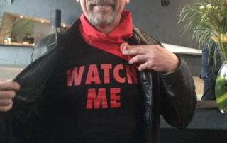 "Choir director Michael Roper in his ""Watch me"" t-shirt"
